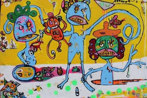 oil, acrylic and spray paint on canvas 150 x 100