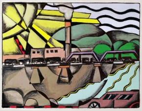 """""""Coal Train Passing Over the Bright River to Omaha: Hand Colored"""" (digital print, 16"""" x 20"""" on watercolor paper, available at Connect Gallery, Omaha, NE)"""