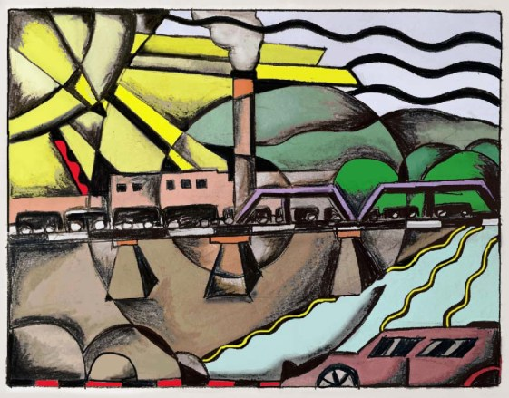 """Coal Train Passing Over the Bright River to Omaha: Hand Colored"" (digital print, 16"" x 20"" on watercolor paper, available at Connect Gallery, Omaha, NE)"